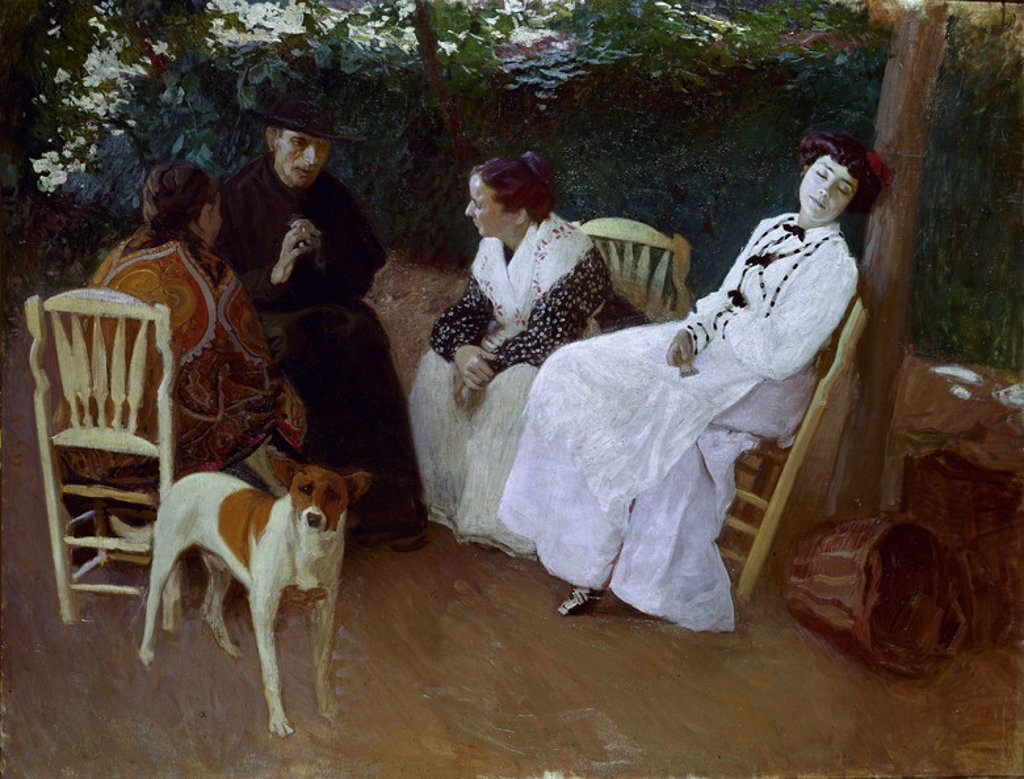 LA HORA DE LA SIESTA. Author: RODRIGUEZ ACOSTA JOSE MARIA. 1878-1941 Location: MUSÉE DES BEAUX-ARTS, GRANADA, SPAIN. : Stock Photo