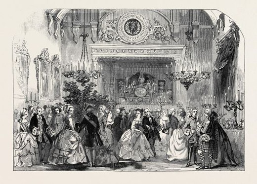Stock Photo: 4409-73973 HER MAJESTY'S COSTUME BALL, THE SUPPER IN THE GREAT DINING ROOM.