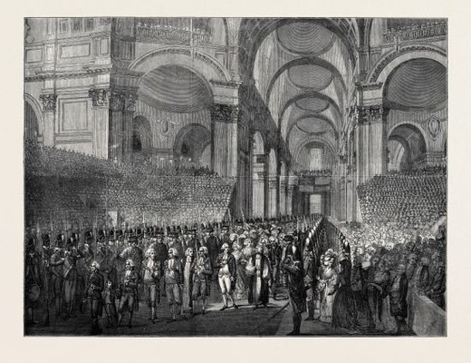 Stock Photo: 4409-74128 APRIL 23, 1789: KING GEORGE III. VISITING ST. PAUL'S AFTER HIS RECOVERY.