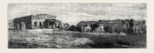 Stock Photo: 4409-74363 BARRACKS AT CAWNPORE, DEFENDED BY GENERAL WHEELER IN 1857, UNTIL REDUCED TO THIS CONDITION, Indian rebellion.