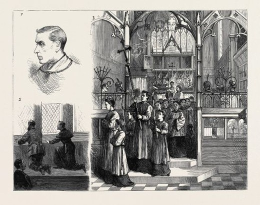 THE RITUALISTIC SERVICES AT HATCHAM: 1. Portrait of Rev. A. Tooth; 2. Besieged in the Vestry; 3. The Procession from the Altar. : Stock Photo