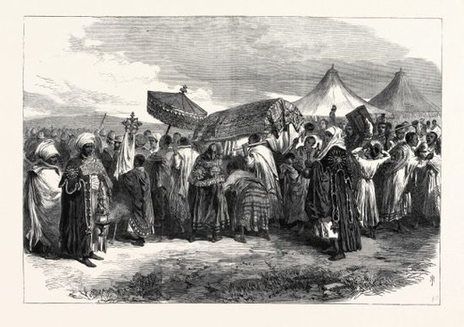THE ABYSSINIAN EXPEDITION: FUNERAL OF THE WIDOW OF KING THEODORE AT AIKHULLET, 1868. : Stock Photo