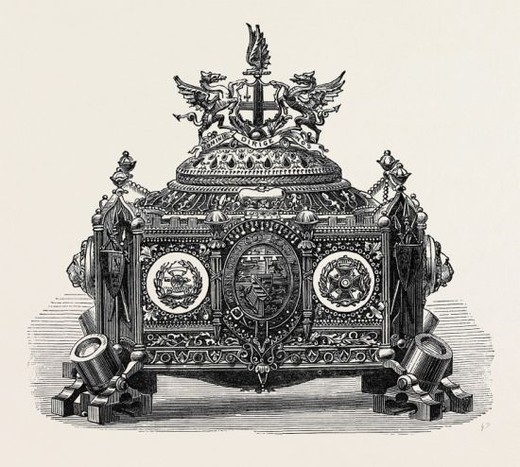 Stock Photo: 4409-75065 CASKET PRESENTED TO PRINCE ARTHUR WITH THE FREEDOM OF THE CITY OF LONDON, 1871.