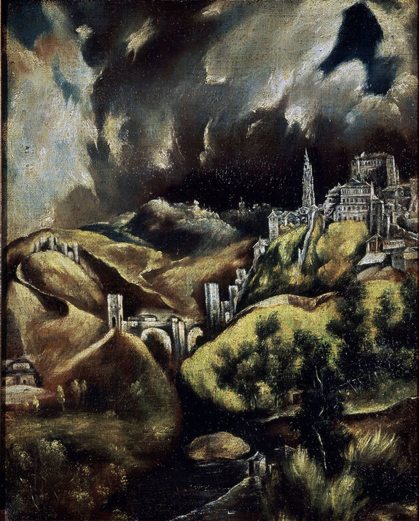 Stock Photo: 4409-7599 PANORAMICA DE TOLEDO - SIGLO XVII. Author: EL GRECO. Location: PRIVATE COLLECTION, MADRID, SPAIN.