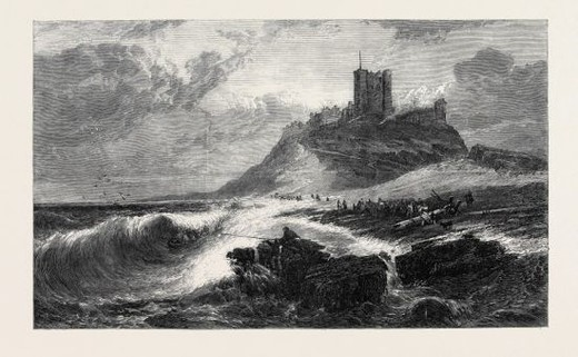"Stock Photo: 4409-76065 ""BAMBOROUGH CASTLE, A SIGNAL OF DISTRESS IN THE OFFING,"" BY E. HAYES, R.H.A., IN THE EXHIBITION OF THE SOCIETY OF BRITISH ARTISTS, 1866."