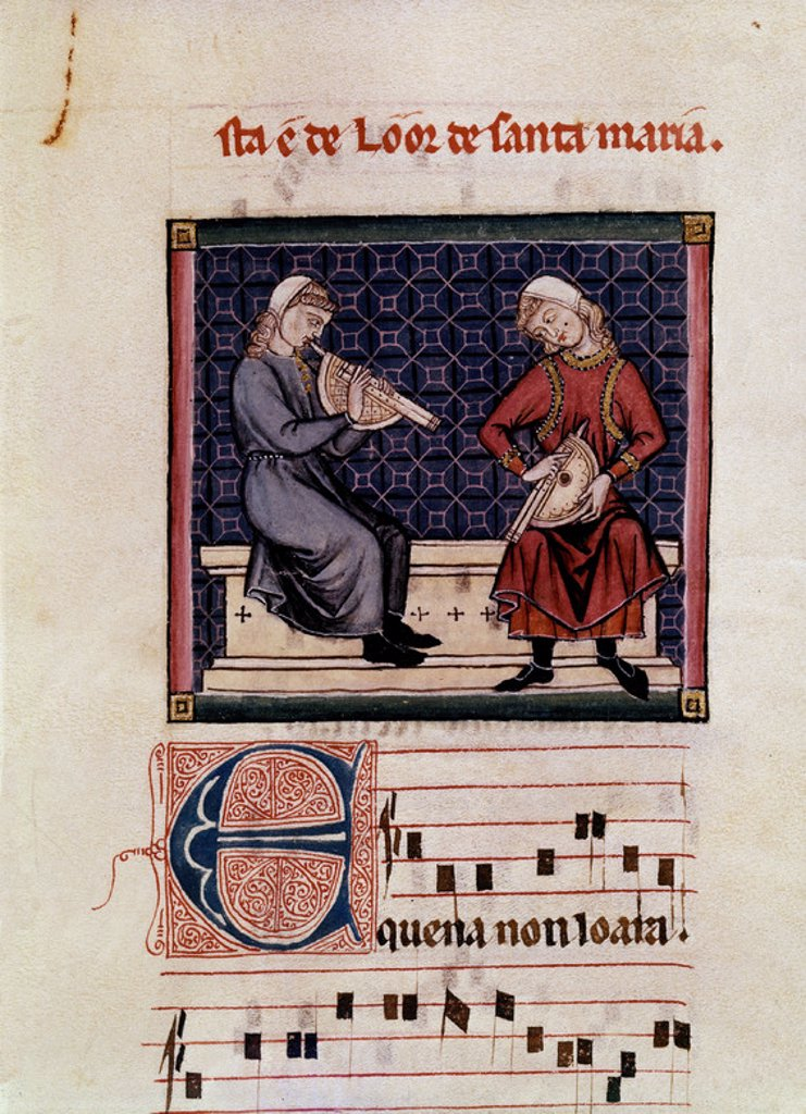 Stock Photo: 4409-7611 Spanish school. Cantigas de Santa Maria (manuscript with music notations): Clarinet players ('albogues'). 13th century. Canticle n°340. Madrid, San Lorenzo de El Escorial library. Author: ALFONSO X OF CASTILE, THE WISE. Location: MONASTERIO-BIBLIOTECA-COLECCION, SAN LORENZO DEL ESCORIAL, MADRID, SPAIN.
