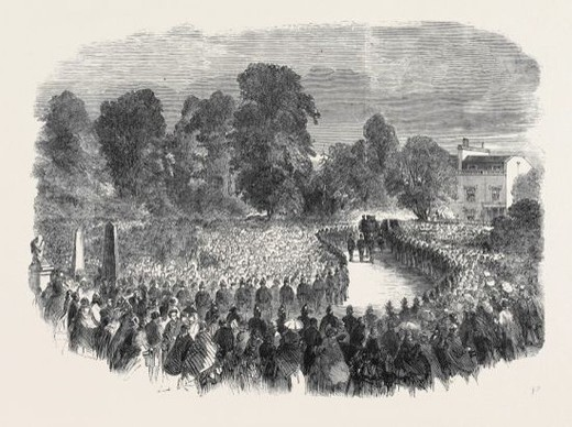 FUNERAL OF MR, BRAIDWOOD, THE LATE CHIEF OF THE LONDON FIRE BRIGADE, IN ABNEY PARK CEMETERY. : Stock Photo
