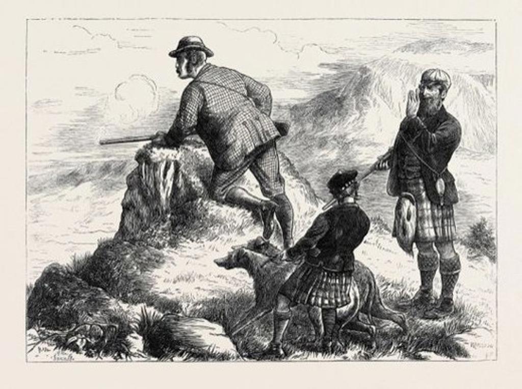 """Stock Photo: 4409-77262 HIGHLAND DEERSTALKING: """"BY GEORGE! MISSED AGAIN."""", 1871."""