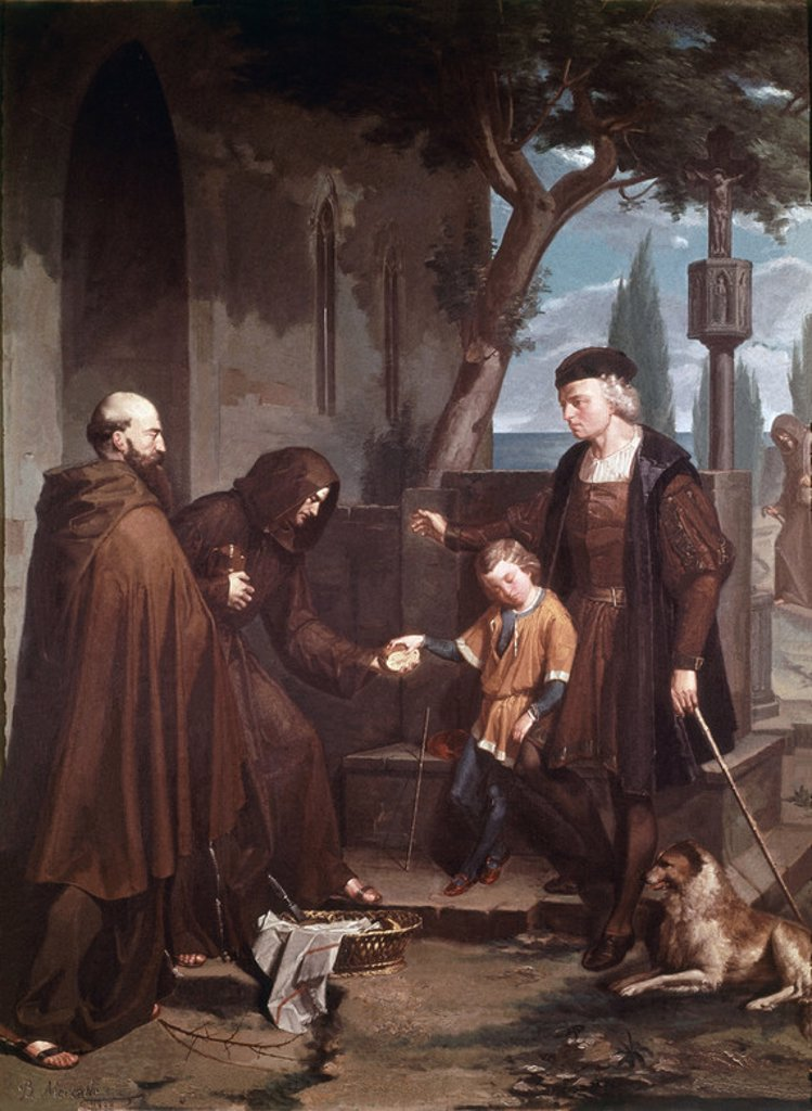 Stock Photo: 4409-7747 The Franciscan friars of the Convento of Santa Maria de la Rabida give bread and water to Christopher Columbus and his son Diego - 1858 - oil on canvas. Author: MERCADE Y FABREGAS BENITO 1831-1897 / MERCADE BENET. Location: PALACIO EPISCOPAL / MUSEO DE ARTE, GERONA, SPAIN. Also known as: COLON LLEGA A LA RABIDA CON SU HIJO DIEGO.