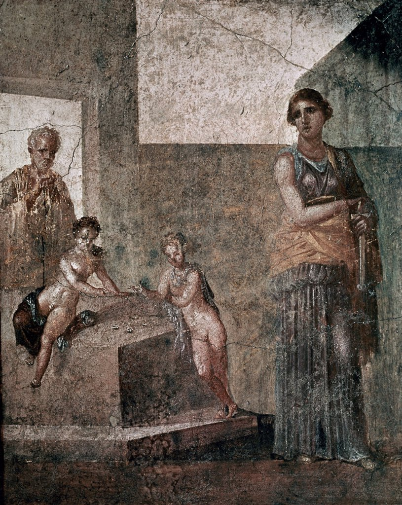 Stock Photo: 4409-7792 Greek school. Medea about to murder her children. Fresque from Pompei (1.20 x 0.97 m). Naples, national museum of archeology. Location: NATIONAL MUSEUM OF ARCHAEOLOGY, NEAPEL, ITALIA.