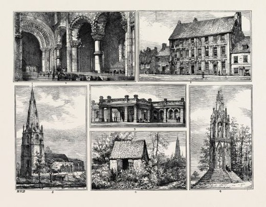 SCENES ON THE BEDFORD AND NORTHAMPTON RAILWAY, IN THE VALLEY OF THE OUSE: 1. INTERIOR OF ST. PETER'S CHURCH, NORTHAMPTON; 2. COWPER'S HOUSE AT OLNEY; 3. STATION OF THE NORTHAMPTON AND BEDFORD RAILWAY AT NORTHAMPTON; 4. QUEEN ELEANOR'S CROSS AT NORTHAMPTON; 5. OLNEY CHURCH; 6. COWPER'S SUMMER HOUSE AT OLNEY. : Stock Photo