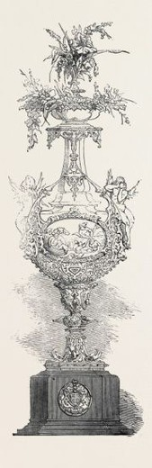 THE AEOLIAN VASE, PRESENTED BY HER MAJESTY TO THE ROYAL VICTORIA YACHT CLUB, 1852. : Stock Photo