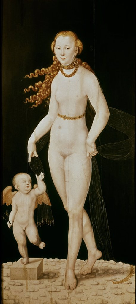 VENUS Y CUPIDO. Author: CRANACH THE YOUNGER, LUCAS. Location: ALTE PINAKOTHEK, MUNICH, DEUTSCHLAND. : Stock Photo