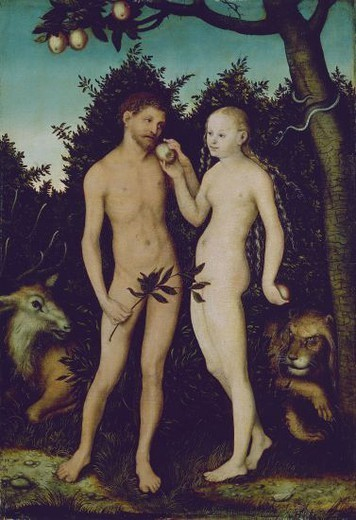ADAN Y EVA - RENACIMIENTO ALEMAN. Author: LUCAS CRANACH THE ELDER. Location: STAATLICHE MUSEUM, BERLIN, DEUTSCHLAND. : Stock Photo