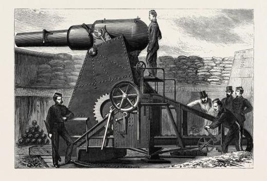 Stock Photo: 4409-78624 THE MONCRIEFF SEVEN-TON GUN CARRIAGE, 1870.