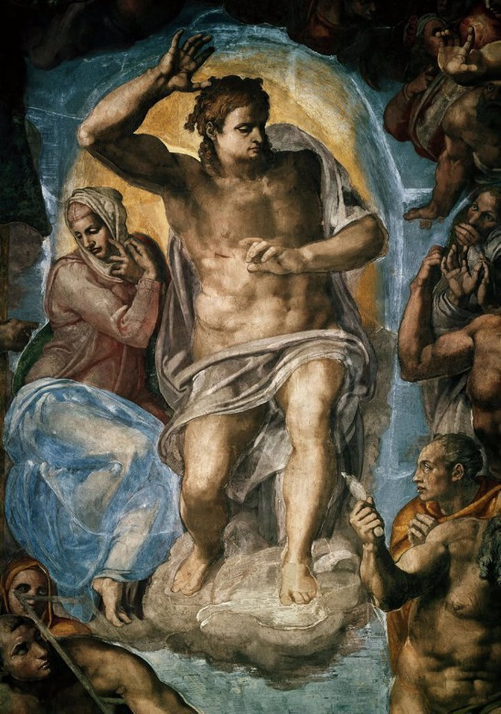 Stock Photo: 4409-7980 The Last Judgment (detail) . Fresco before restauration. Vatican, Sistine Chapel. Author: BUONARROTI, MICHELANGELO. Location: MUSEOS VATICANOS-CAPILLA SIXTINA, VATICANO.