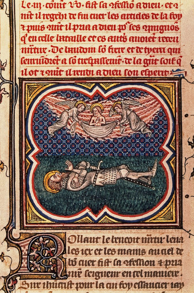 Stock Photo: 4409-7983 Great Chronicles of France. Song of Roland: Death of Roland in Roncevaux. 12th-13th century. Author: BOUQUET JEAN. Location: NATIONAL LIBRARY, PARIS.