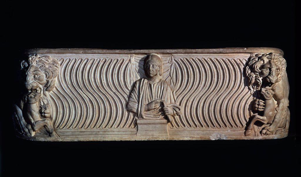 SARCOFAGO DE LOS LEONES PALEOCRISTIANO - SIGLO III. Location: ARCHAEOLOGICAL MUSEUM, SPAIN. : Stock Photo