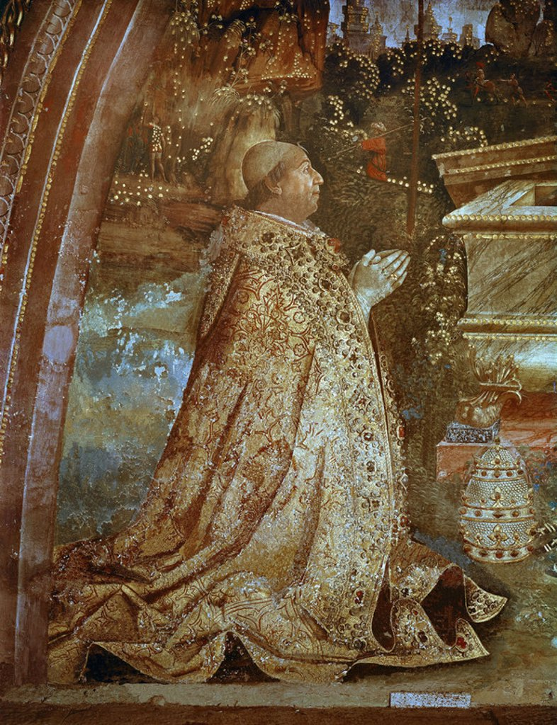 Stock Photo: 4409-8045 Alexander VI (Alessandro VI) , pope from 1492 to 1503. Vatican Palace. Author: PINTURICCHIO. Location: MUSEOS VATICANOS-APARTAMENTOS BORGIA, VATICANO.