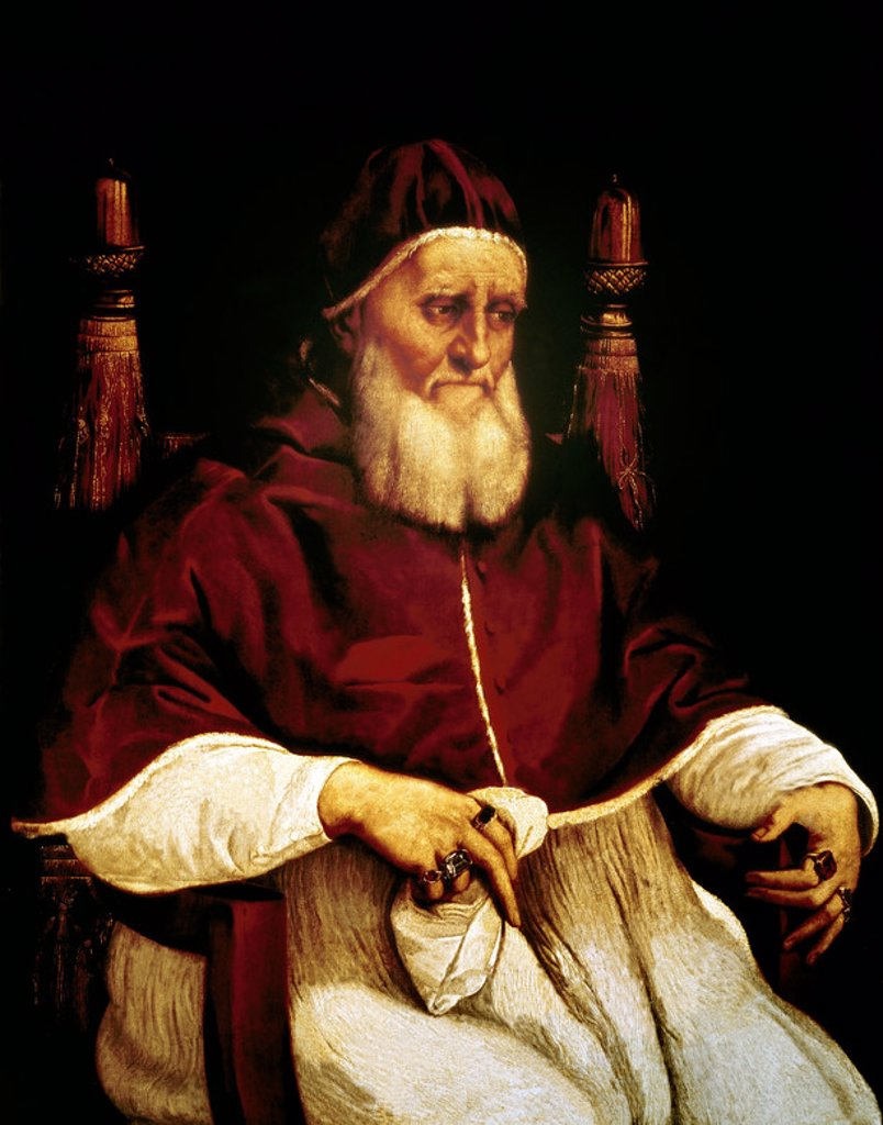 Stock Photo: 4409-8046 Julius II (Giulio II) (1443-1513), pope from 1503 to 1513. Florence, Offices Gallery. Author: RAPHAEL. Location: GALERIA DE LOS UFFIZI, FLORENZ, ITALIA.