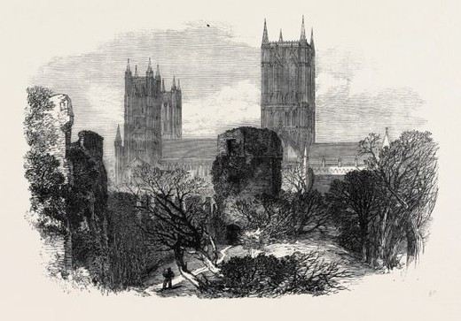 Stock Photo: 4409-80811 RUINS OF THE BISHOP'S OLD PALACE, LINCOLN, 1869, UK.