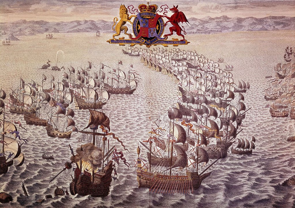 LA ARMADA INVENCIBLE FRENTE A LAS COSTAS DE INGLATERRA EN 1588 - GRABADO SIGLO XVIII. Author: PINE, JOHN. Location: NATIONAL MARITIME MUSEUM, GREENWICH, ENGLAND. : Stock Photo