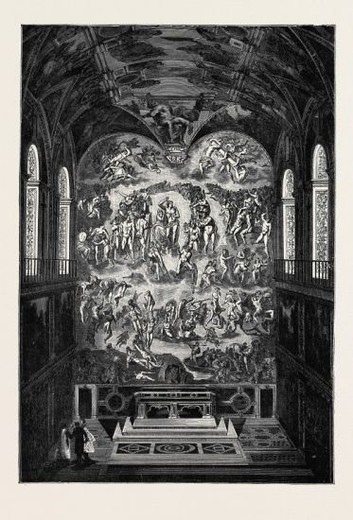 "ROME: ""THE LAST JUDGMENT,"" BY MICHAEL ANGELO, IN THE SISTINE CHAPEL. : Stock Photo"