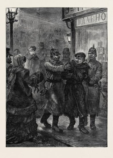 Stock Photo: 4409-81640 ARREST OF A SUSPECTED NIHILIST AT ST. PETERSBURG, RUSSIA, 1880.