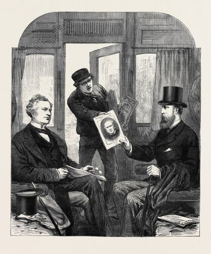 THE MINISTERIAL CRISIS: A SKETCH AT THE GREAT WESTERN RAILWAY STATION, PADDINGTON, FRIDAY, APRIL 23, 1880. : Stock Photo