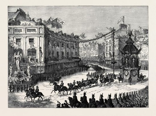 Stock Photo: 4409-81859 THE ROYAL ENTRY INTO LONDON: THE PROCESSION IN OXFORD CIRCUS, LONDON, 1874.