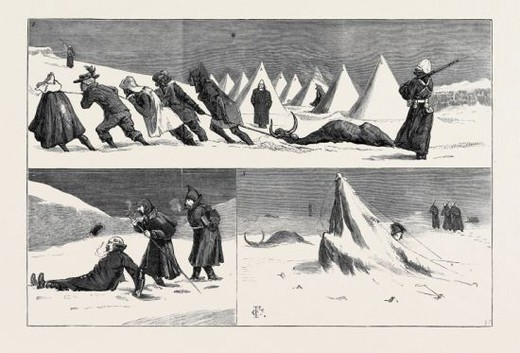 """AFRIC'S SUNNY CLIME""; AFTER A SNOWSTORM IN NATAL: 1. A Funeral Procession; 2. The New Majors Going to School to Fort Amiel; 3. Some Effects of the Snowstorm. : Stock Photo"