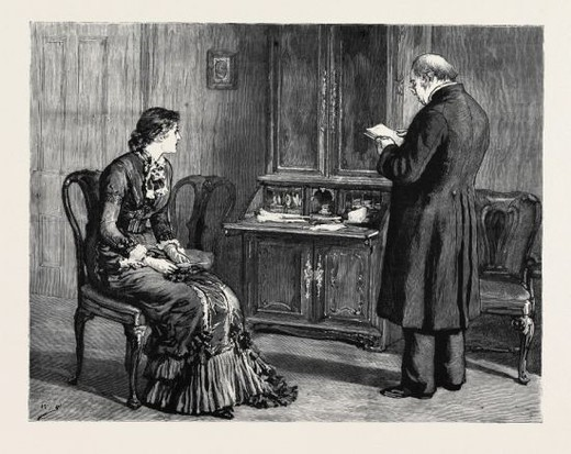 MARION FAY: A NOVEL, BY ANTHONY TROLLOPE: Mr. Greenwood had gradually trained himself to say and to hear all manner of evil things about Lady Frances in the presence of the Marchioness. : Stock Photo