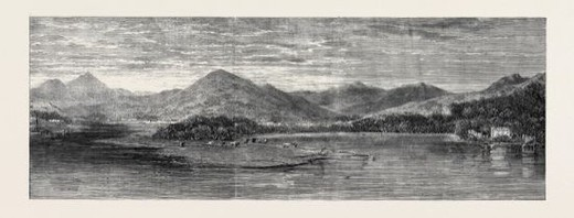 Stock Photo: 4409-82305 THE BAY OF FINLARIG, LOCH TAY, PERTHSHIRE, WITH THE MAUSOLEUM OF THE BREADALBANE FAMILY, 1862.