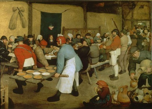Stock Photo: 4409-8262 Flemish school. The Peasant Wedding. Vienna (Austria), Kunsthistorisches Museum. Author: BRUEGEL THE ELDER, PIETER. Location: KUNSTHISTORISCHES MUSEUM / MUSEO DE BELLAS ARTES, WIEN, AUSTRIA.