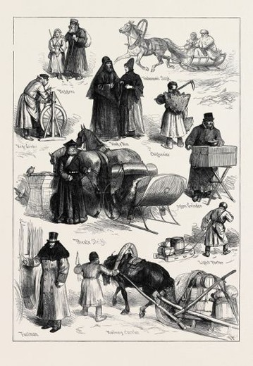 SKETCHES IN ST. PETERSBURG: BEGGARS; TRADESMAN'S SLEIGH; MONK AND NUN; CHIFFONNIER; ORGAN GRINDER; KNIFE GRINDER; PRIVATE SLEIGH; LIGHT PORTER; RAILWAY CARRIER; FOOTMAN; RUSSIA, 1874. : Stock Photo
