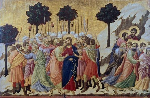 Maesta: Betrayal of Christ - 1308/11 - 50x76 cm - Temple on panel. Author: DUCCIO DI BUONINSEGNA. Location: MUSEO DELL'OPERA DEL DUOMO DE SIENA, SIENA, ITALIA. Also known as: LA MAESTA-EL PRENDIMIENTO DE CRISTO. : Stock Photo