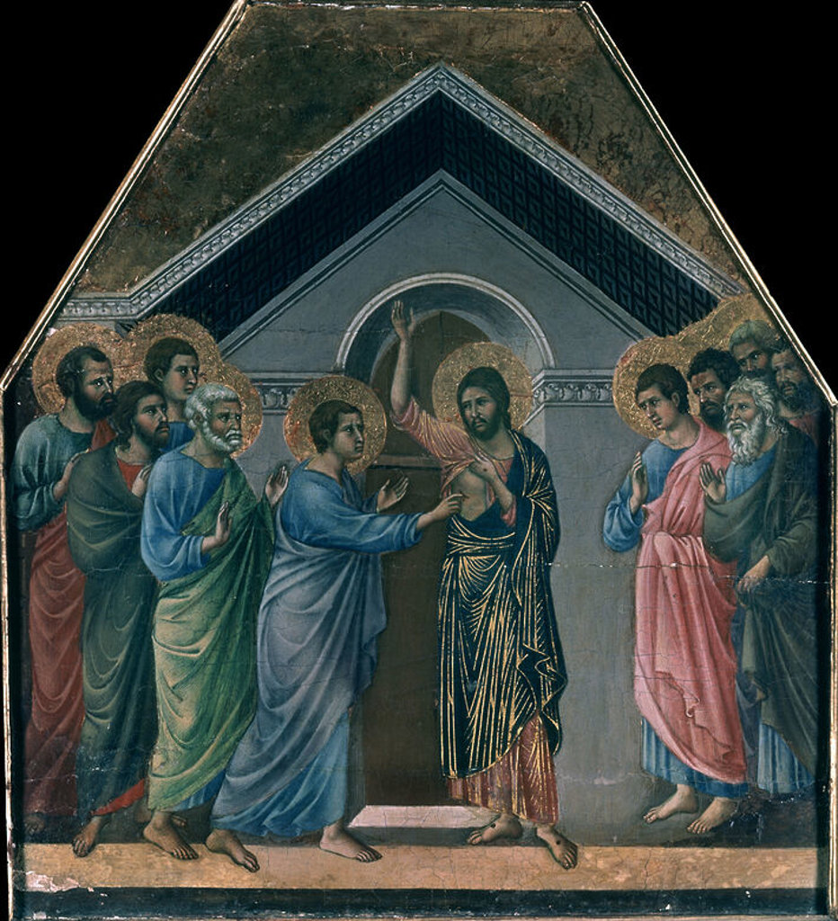 LA MAESTA - LA INCREDULIDAD DE SANTO TOMAS - 1308-1311 - TEMPLE/TABLA - 56,1 x 50,7 cm - GOTICO INTERNACIONAL. Author: DUCCIO DI BUONINSEGNA. Location: MUSEO DELL'OPERA DEL DUOMO DE SIENA, SIENA, ITALIA. : Stock Photo