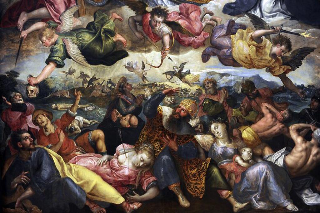 """Stock Photo: 4409-83165 ARTE BARROCO. FLANDES. Cornelis de Vos (h. 1584, Hulst? 9 de mayo de 1651, Amberes). Pintor flamenco del Barroco. """" El Juicio Final"""", 1600-1625. Detalle. Los ángeles de Diós, separando a los buenos de los malos. Staten Museum for Kunst. Copenhague. Dinamarca. Europa."""