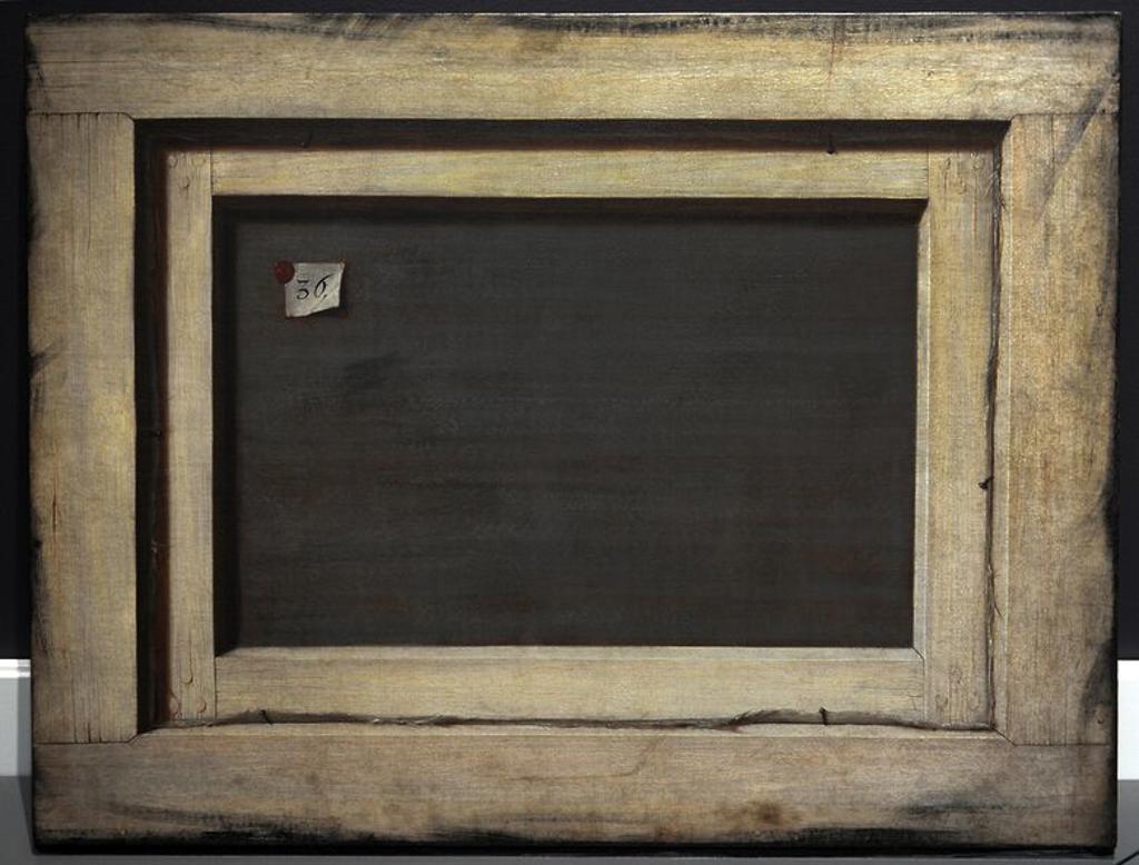 """Stock Photo: 4409-83177 ARTE. BARROCO. SIGLO XVII. FLAMENCO. Cornelis Gysbrechts Norbertus o Gijsbrechts (ca 1630-después de 1683). Pintor flamenco de la naturaleza muerta y trampantojo activo en la segunda mitad del siglo XVII. """"Trompe l'oeil. El reverso de un cuadro enmarcado"""", 1670. Staten Museum for Kunst. Copenhague. Dinamarca."""