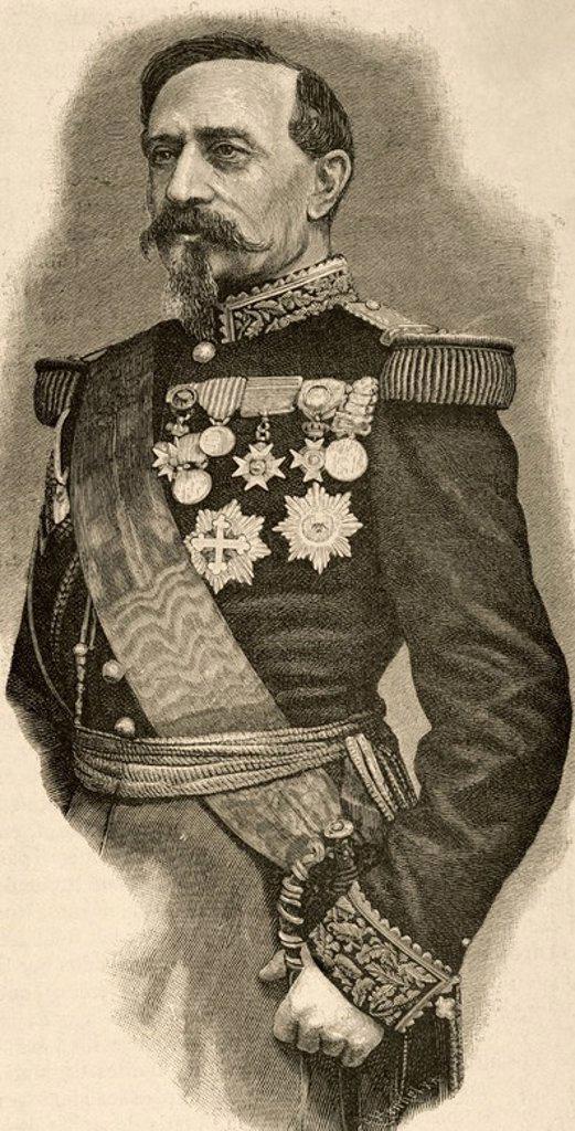 """Stock Photo: 4409-83246 CHARLES DENIS BOURBAKI (1816-1897). Militar francés. Napoleón III le dió el mando de la Guardia Imperial. Sirvió en Argelia, Crimea y destacó en la Batalla de Solferino (1879). Grabado. """"Historia de Francia"""", 1883."""