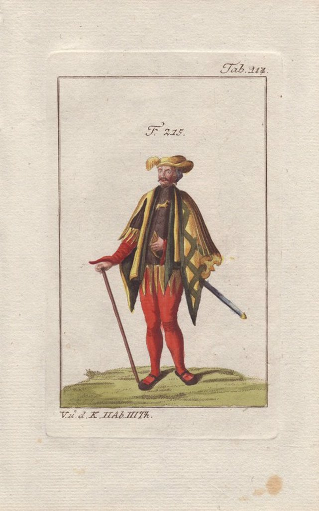 "Stock Photo: 4409-83378 A ""poursuivant d'armes"" (apprentice herald) from the society of the donkey (Societe de l'Ane). He wears a yellow plumed cap, an elaborate cloak in black, yellow and gold, over red trousers. The breast of his tunic shows a leaping donkey.. . Handcolored copperplate engraving from Robert von Spalart's ""Historical Picture of the Costumes of the Principal People of Antiquity and of the Middle Ages"" (1796)."