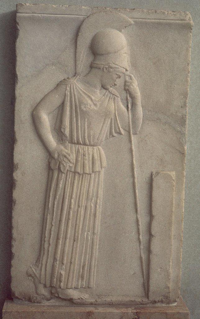 RELIEVE DE ATENEA PENSATIVA- 460 A.C. Location: MUSEO DE LA ACROPOLIS, ATHENS, GREECE. : Stock Photo