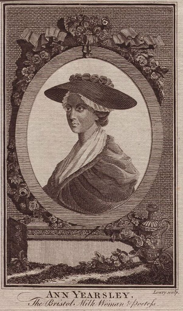 "Ann Yearsley (1753 - 1806), the ""Milkwoman & Poetess."" Ann was a poor milkmaid from Bristol until discovered by the famous aristocrat writer Hannah More, who encouraged her to write and helped her publish a volume of poems in 1785. The success of the book caused a jealous rivalry between the two writers. Bristol was an important port in the slave trade between Africa and the British colonies, and in 1788, Ann published ""A Poem on the Inhumanity of the Slave-Trade."". Copperplate engraving by Lowr : Stock Photo"