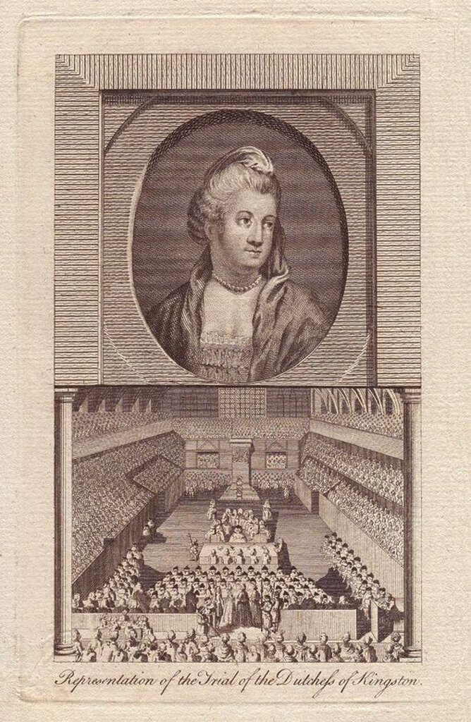 Stock Photo: 4409-83785 Elizabeth Chudleigh, Duchess of Kingston (1720 - 1788), was a notorious and devious English aristocrat. In 1744, she married poor naval officer Augustus Hervey but kept her marriage secret to keep her position at court. When Hervey became Earl of Bristol, however, she suddenly started boasting of her marriage to him. At the same time, Elizabeth became mistress to the Duke of Kingston and married him in 1769. When the Duke died in 1773, Elizabeth inherited all his property - until the Duke's neph
