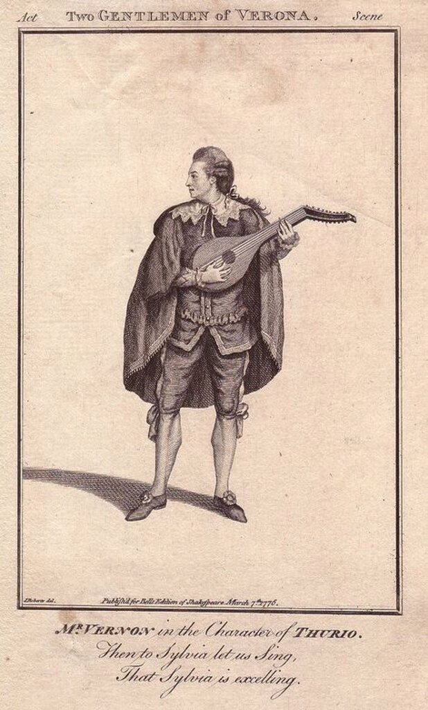 "Stock Photo: 4409-83786 Mr. Joseph Vernon as Thurio in ""Two Gentlemen of Verona."". . Thurio is shown standing in breeches and stockings, wearing a cape with lace collar, playing a lute.. . . Vernon made his debut in 1750, and continued playing in London and Dublin until 1781, but was not regarded as a performer of the first rank.. . Copperplate engraving from ""Bell's Shakespeare"" published by John Bell, London, from 1776. Drawn by James Roberts."