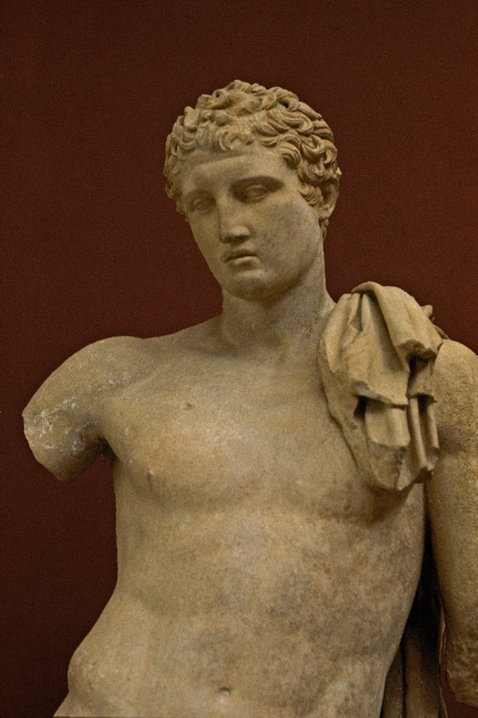 Stock Photo: 4409-8404 Hermes bust, one of the gods from the Olympian pantheon. Greek art. Athens, archaeological museum of Andros. Greece. Location: MUSEO ARQUEOLOGICO-ESCULTURA, ATHENS, GREECE.
