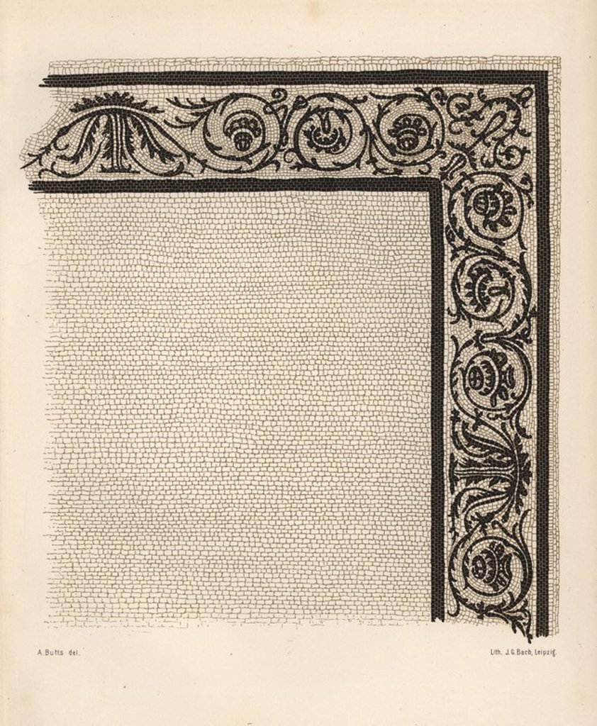 "Mosaic border of the Impluvium from the House of the Pygmies (Casa dei Pygmeii) at 9, Regio IX, Insula V. Illustration drawn by Discanno and lithographed by Victor Steeger from Emil Presuhn's ""Pompeji. Die Neuesten Ausgrabungen von 1874-1881,"" Weigel, Leipzig, 1882. German archeologist Presuhn (1844-1881) lived in Italy for eight years and, with Mr. Discanno and Miss Amy Butts, made exact copies of many wall paintings that are now lost. : Stock Photo"