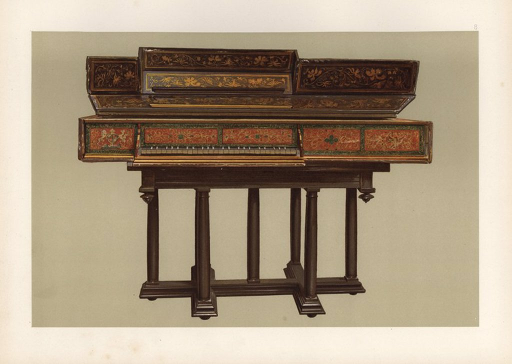 """Queen Elizabeth I's virginal, made in Italy circa 1570. Chromolithograph from an illustration by William Gibb from A.J. Hipkins' """"Musical Instruments, Historic, Rare and Unique,"""" Adam and Charles Black, Edinburgh, 1888. Alfred James Hipkins (1826-1903) was an English musicologist who specialized in the history of the pianoforte and other instruments. William Gibb was a master illustrator and chromolithographer and illustrated """"The Royal House of Stuart"""" (1890), """"Naval and Military Trophies"""" (189 : Stock Photo"""