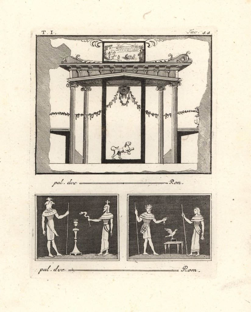 "Stock Photo: 4409-84912 Architectural painting of a vestibule. The columns have Ionic capitals but no bases, and the cornice has ornamental corbels and triglyphs closer to the Doric. Below are two vignettes showing Egyptian gods: Osiris and priest and snake, and Osiris and Isis. Copperplate engraved by Tommaso Piroli from his own ""Antichita di Ercolano"" (Antiquities of Herculaneum), Rome, 1789. Italian artist and engraver Piroli (1752-1824) published six volumes between 1789 and 1807 documenting the murals and bronzes"