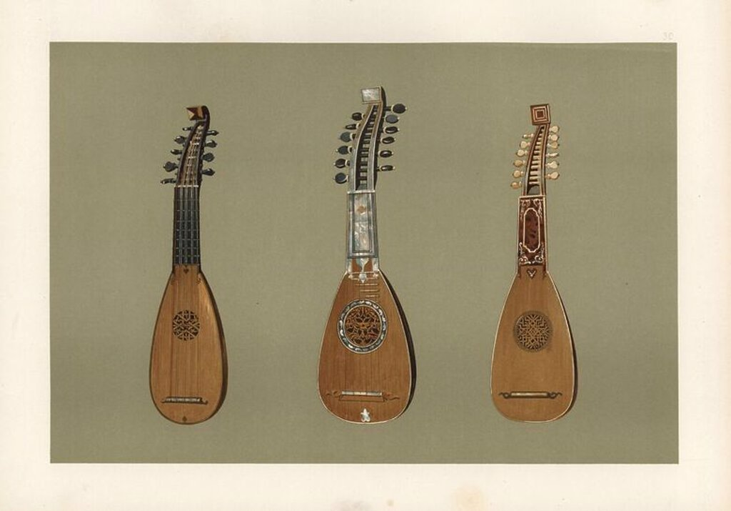 "Stock Photo: 4409-85055 Pandurina or discant lute from 1734 (left), Milanese mandoline lute decorated with mother-of-pearl from 1775 (centre), and Milanese mandoline lute decorated with tortoiseshell and ivory from 1739 (right). Chromolithograph from an illustration by William Gibb from A.J. Hipkins' ""Musical Instruments, Historic, Rare and Unique,"" Adam and Charles Black, Edinburgh, 1888. Alfred James Hipkins (1826-1903) was an English musicologist who specialized in the history of the pianoforte and other instruments"